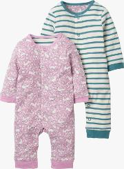 Baby Twin Bunny Stripe Romper, Pack Of 2
