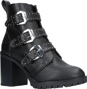 Saxon Buckle Block Heeled Ankle Boots