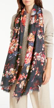 Archive Floral Wool Silk Blend Scarf