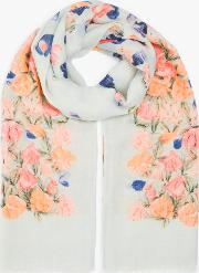 Cascading Sweetpea Wool And Silk Scarf