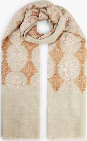 Contrast Embroidery Wool And Silk Scarf