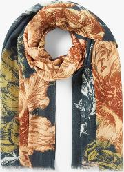 Wool And Silk Etched Bloom Scarf