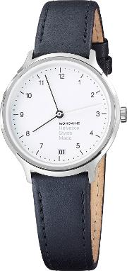 Mh1r1210lb Unisex Helvetica Leather Strap Watch