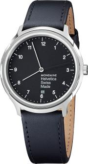 Unisex Helvetica Leather Strap Watch