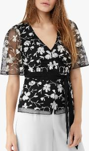 Victoria Embroidered Tie Blouse