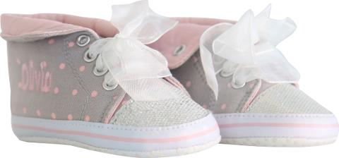 9c879dcf0e66 my 1st years Baby Personalised Glitter Hi Top Trainers