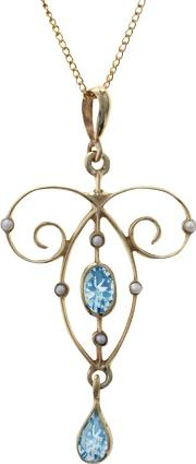 Topaz And Seed Pearl Pendant Necklace