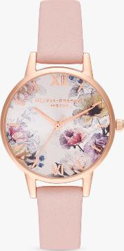 Ob16eg115 Women's Sunlight Florals Leather Strap Watch