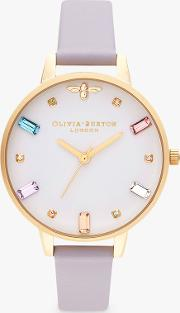 Ob16rb11 Women's Rainbow Bee Leather Strap Watch