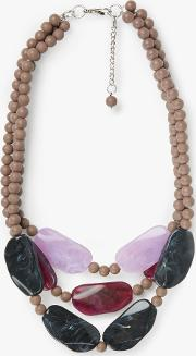 Chunky Bead Triple Row Layered Statement Necklace