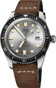 01 733 7720 4051 07 5 21 02 Men's Divers Sixty Five Automatic Date Leather Strap Watch