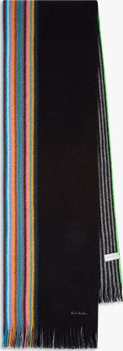 Multi Edge Striped Wool Scarf