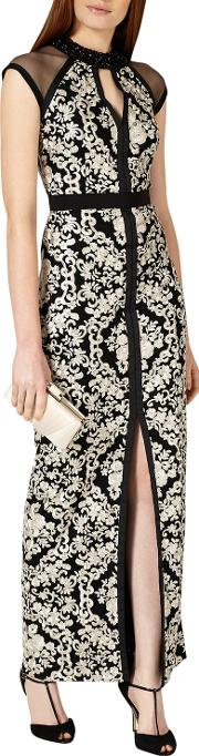 Elodie Embroidered Full Length Dress, Blackoyster