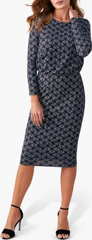 Geo Leaf Print Blouson Dress