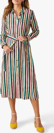 Linen Striped Shirt Dress