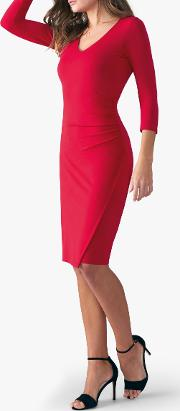 V Neck Bodycon Jersey Dress