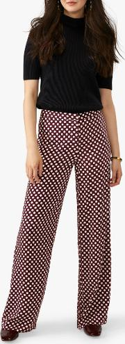Wide Leg Polka Dot Print Trousers