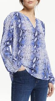 Julia Snake Print Silk Blouse