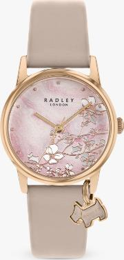 Ry2884 Women's Botanical Floral Leather Strap Watch