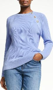 Aryuda Button Trim Cotton Sweater