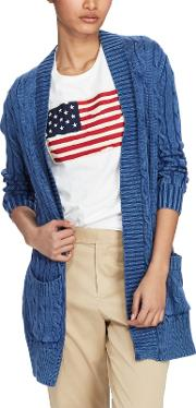Polo  Cable Knit Open Front Cardigan