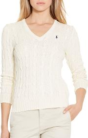 Polo  V Neck Cable Knit Jumper
