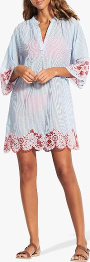 Stripe Embroidered Cover Up