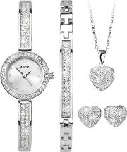 2528g.76 Women's Crystal Bracelet Strap Watch, Bangle, Necklace And Stud Earrings Gift Set
