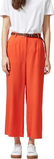 Ravan Wide Leg Cropped Trousers, Mandarin Red