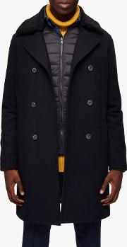 Recycled Wool Blend Double Breasted Peacoat