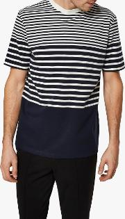 Stripe Blocking T Shirt