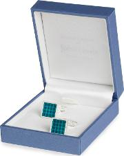 For John Lewis Silver Plated Square Enamel Dot Cufflinks, Teal