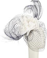 Brea Flower Veil Fascinator, Navywhite