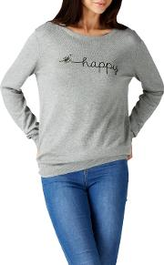 Bee Happy Embroidered Jumper, Grey Marl