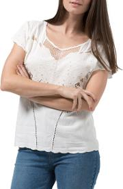 Butterfly Embroidered Cutwork Top