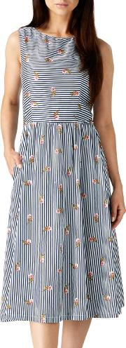 Lois Stripe And Floral Dress, Navywhite