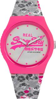 Syl169ep Women's Urban Floral Silicone Strap Watch