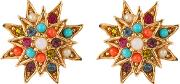 1980s D'orlan 22ct Gold Plated Swarovski Crystal Clip On Star Earrings