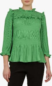 Airlie Pleated Smocking High Neck Top
