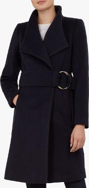 Belted Oversized Collar Wool Coat