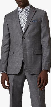Board Check Wool Tailored Suit Jacket