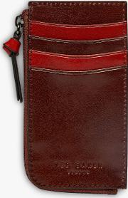 Bombay Leather Zip Up Credit Card Holder