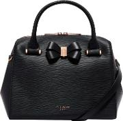 Cacia Leather Bow Detail Bowler Bag