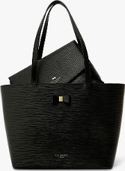 Deannah Textured Leather Tote Bag