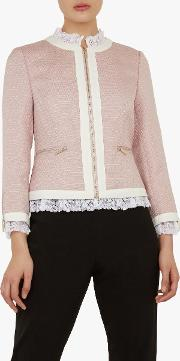 Ennio Lace Trim Cropped Tailored Jacket