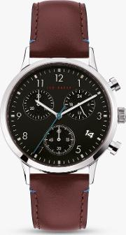 Men's Cosmopolitan Chronograph Date Leather Strap Watch