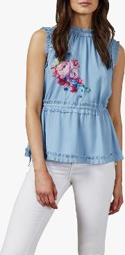 Pommie Floral Ruffle Top