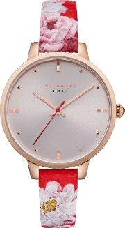 Te50005011 Women's Kate Floral Leather Strap Watch