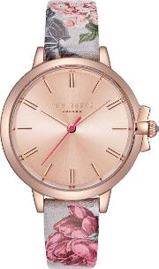 Te50267002 Women's Ruth Floral Leather Strap Watch