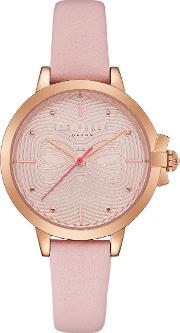 Women's Beth Bow Dial Leather Strap Watch
